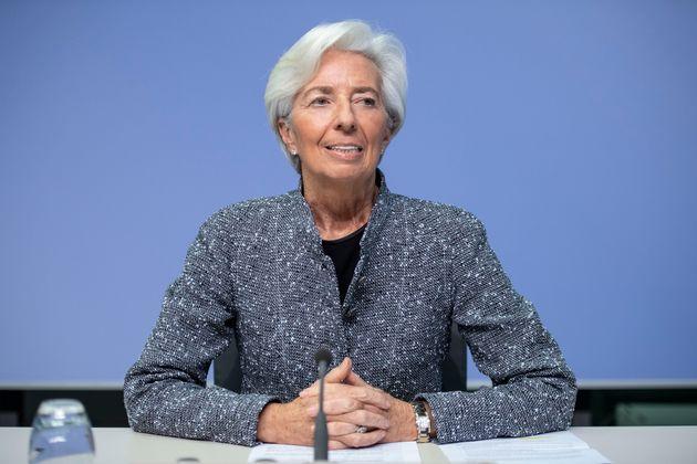 La presidenta del Banco Central Europeo, Christine Lagarde, en una rueda de prensa tras la reunión...