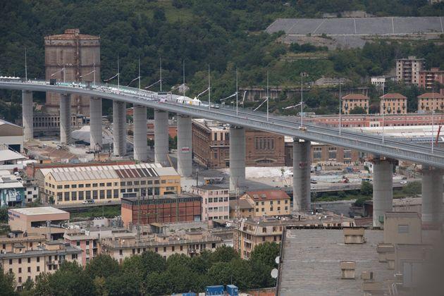GENOA, ITALY - AUGUST 03: A general view of the Genova San Giorgio Bridge on August 03, 2020 in Genoa,...