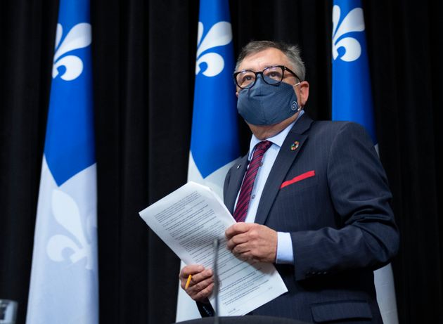 Quebec director of National Public Health Horacio Arruda arrives at a news conference on June 17, 2020...