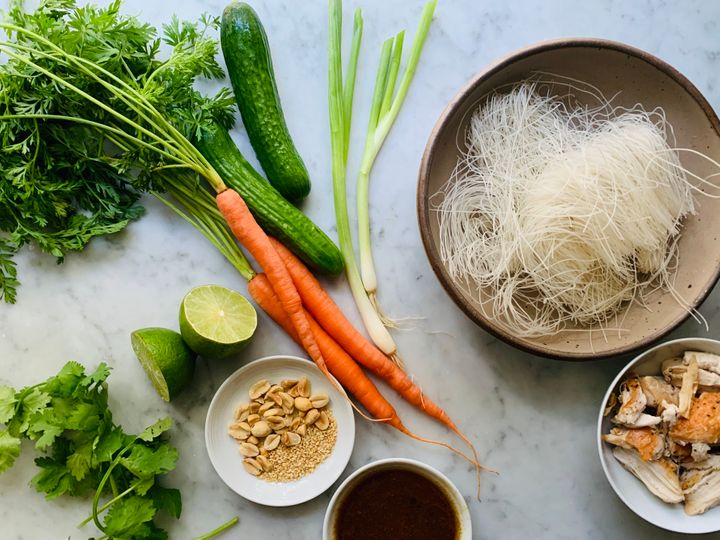 Vermicelli noodles, seen in the upper right of the photo, are so thin that they easily soften in hot water, no cooking required.