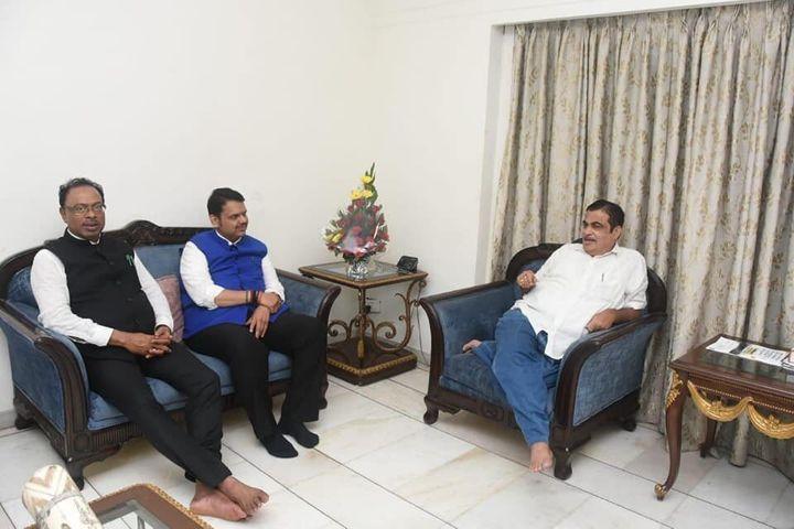 Chandrashekhar Bawankule with former Maharashtra CM Devendra Fadnavis and Union minister Nitin Gadkari in a file photo