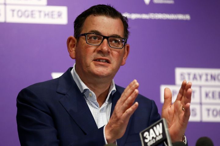 Victorian Premier Daniel Andrews speaks to the media during a press conference on August 04, 2020 in Melbourne, Australia.