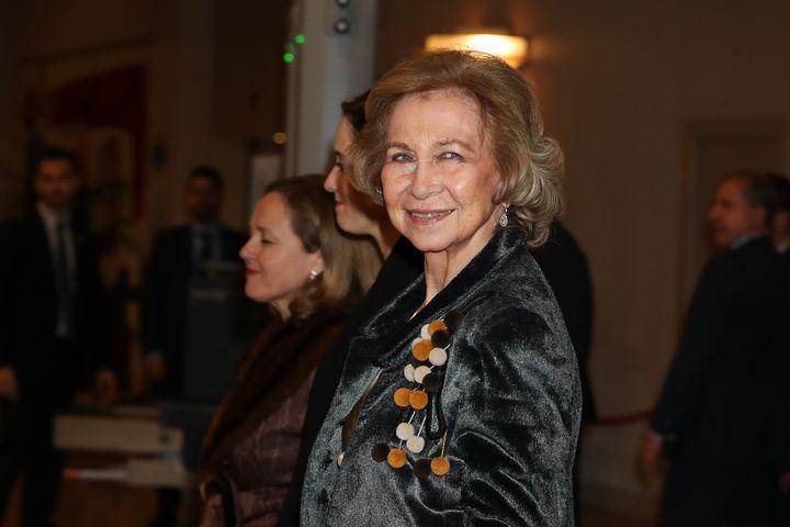 La reina Sofía en un evento de la fundación en febrero de 2020.