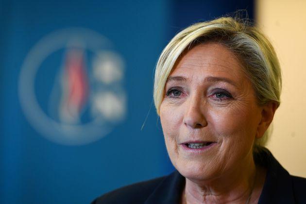 Marine Le Pen au siège du RN à Nanterre le soir du second tour des municipales le 28