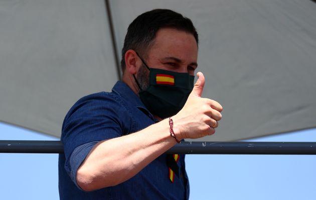 Santiago Abascal, presidente de Vox, durante la protesta contra el Gobierno durante el estado de