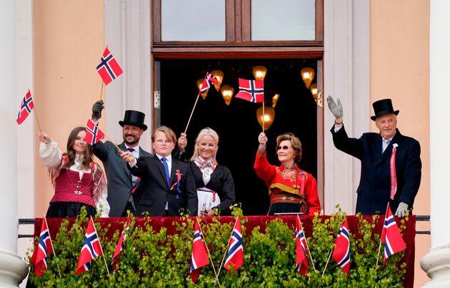 La familia real de Noruega, en mayo pasado, durante el Día de la