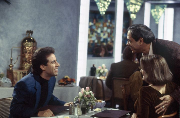 """Reni Santoni, right, as Poppie, with Jerry Seinfeld and Suzanne Snyder on """"Seinfeld."""""""