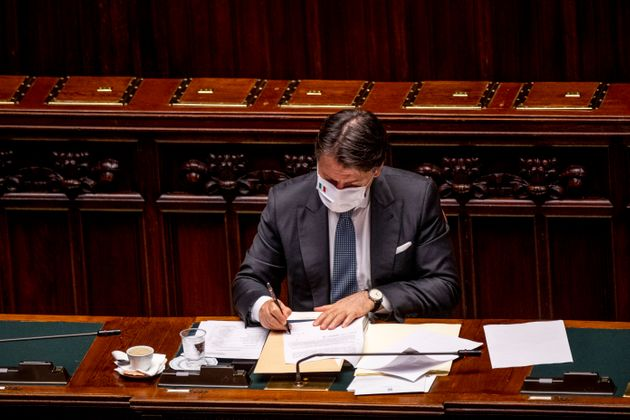 ROME, ITALY - JULY 29: Italian Prime Minister Giuseppe Conte wearing a protective mask attends the debate...