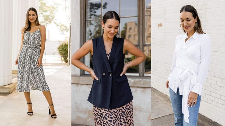 """An animal print cami, a jogger set and wrap blouse— Kathleen Barnes' collection for """"The Drop"""" is full of fashionable finds."""