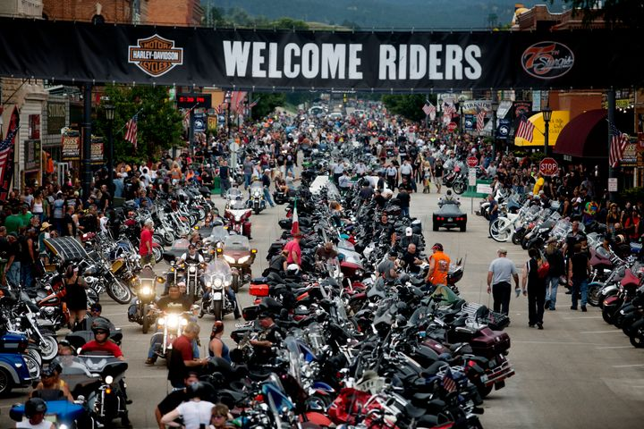 Bikes and rallygoers fill Main Street during the annual Sturgis Motorcycle Rally in August, 2015.