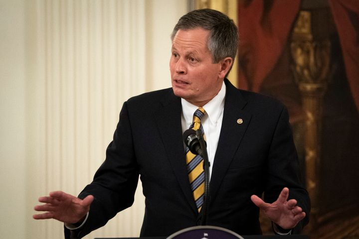 Sen. Steve Daines (R-Mont.) speaks during a signing ceremony for the Great American Outdoors Act.