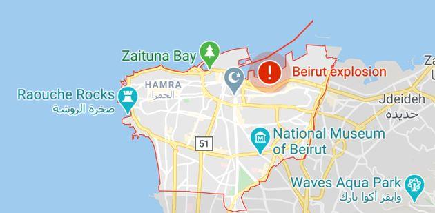 Local da explosão em Beirute, próximo ao Mar