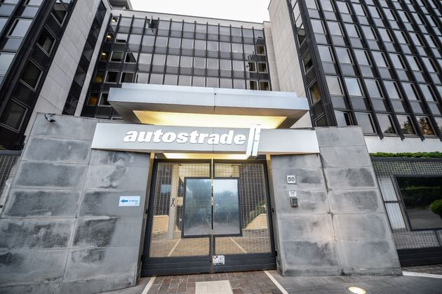 A view of headquarters with the logo of the Italian infrastructure giant Autostrade per l'Italia, in...