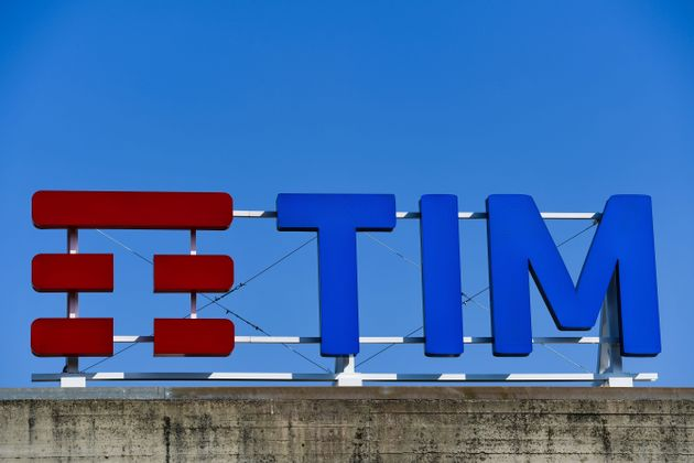The Telecom Italia (TIM) logo is pictured at the company's headquarters prior to the shareholders' meeting...