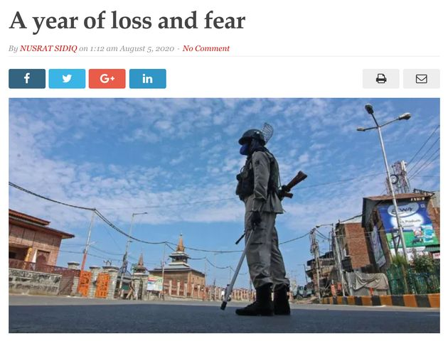 The lead story on 'Kashmir