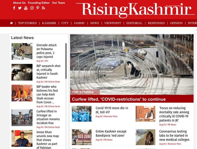 Rising Kashmir's homepage on Aug