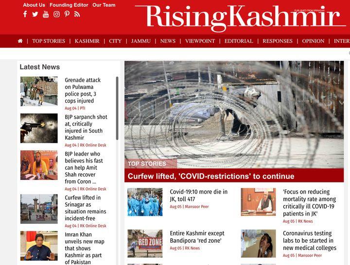 Rising Kashmir's homepage on Aug 5