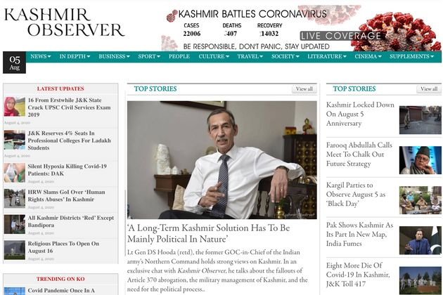 The homepage of Kashmir Observer on Aug