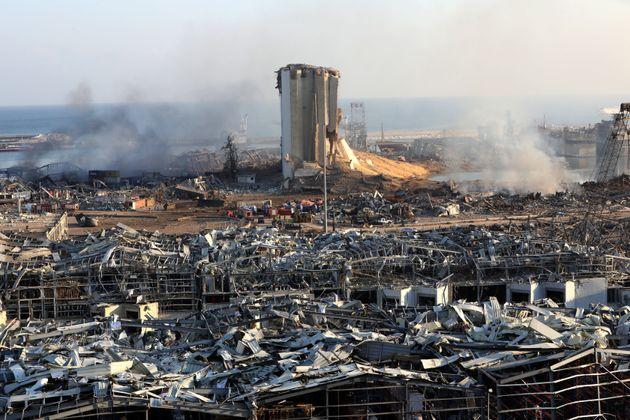 Une photo montrant les conséquences de l'explosion au port de Beyrouth, au Liban, le 5 août