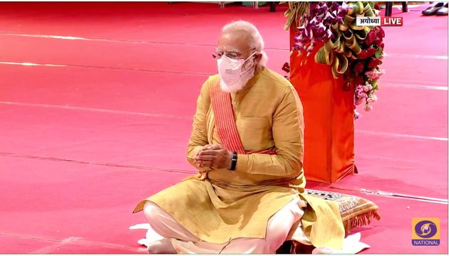 Prime Minister Narendra Modi praying at the inauguration of the Ram Temple in Ayodhya on 5 August,
