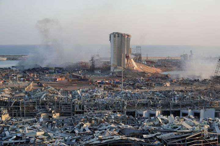 A destroyed port after a massive explosion is seen in Beirut, Lebanon, Wednesday, Aug. 5, 2020. (AP Photo/Hassan Ammar)
