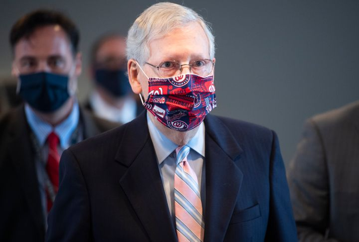 Senate Majority Leader Mitch McConnell(R-Ky.) leaves a news conference after the Senate Republican Policy luncheon in H