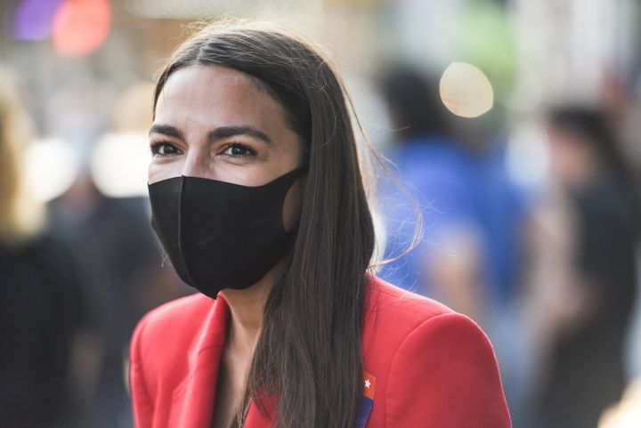 Rep. Alexandria Ocasio-Cortez (D-N.Y.) campaigns on June 23 in the Bronx borough of New York City.