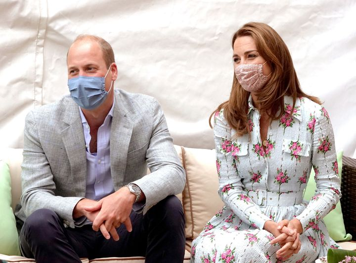 Prince William and Kate Middleton meet residents at the Shire Hall Care Home in Cardiff, Wales, on Aug. 5.