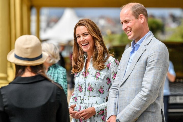 The Cambridges on the promenade as they visit beach huts to speak to local business owners about the impact of COVID-19 on th