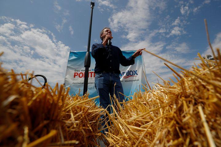 Montana Gov. Steve Bullock speaks at the Iowa State Fair in Des Moines, Iowa, last summer