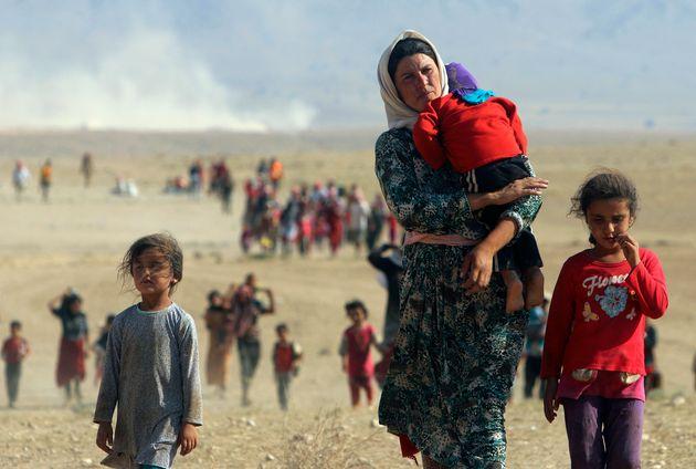 Imagen de archivo de desplazados yazidíes durante el conflicto en