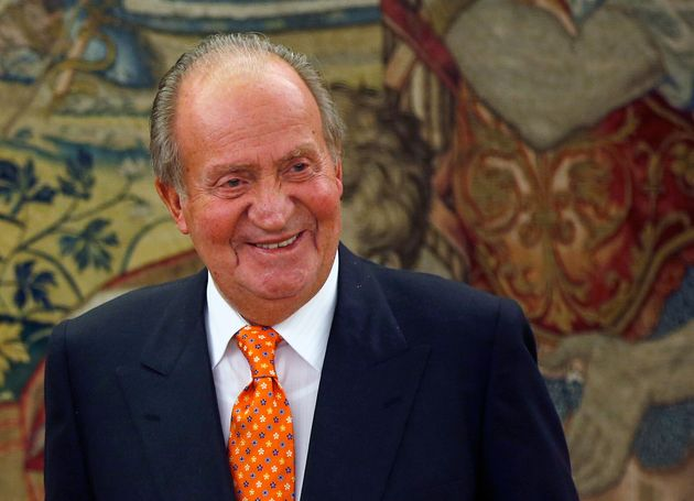 Juan Carlos I smiles in one of his last hearings as king of Spain in the palace ...