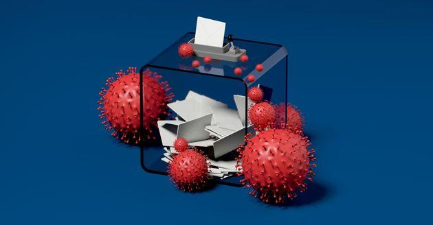 ballot box and viruses blue background 3D