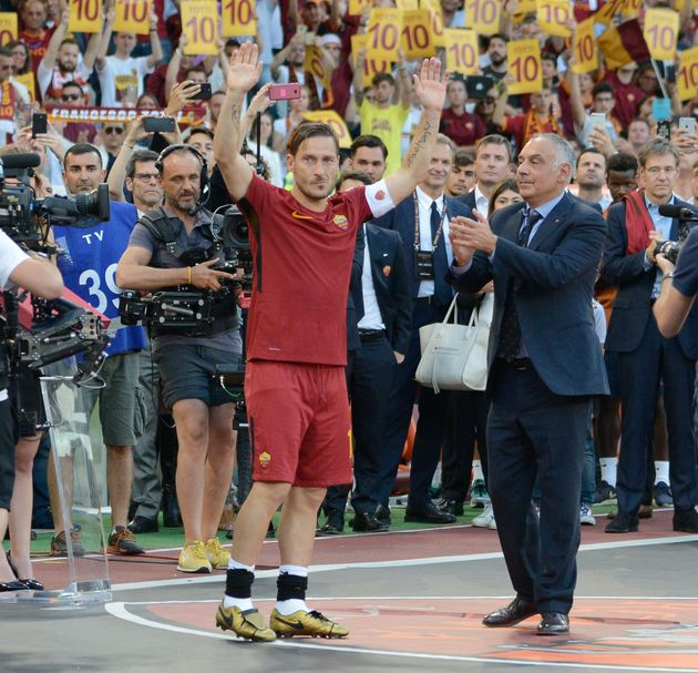 Francesco Totti, James Pallotta during the Italian Serie A football match between A.S. Roma and F.C....