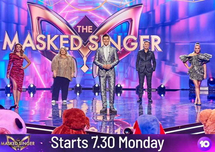 'The Masked Singer' judges Dannii Minogue, Urzila Carlson, host Osher Gunsberg and judges Dave Hughs and Jackie O
