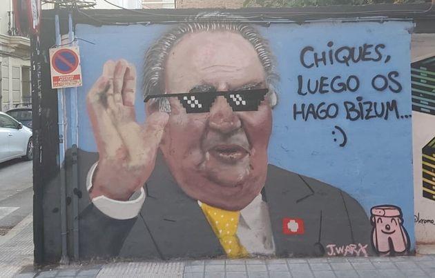 El grafiti pintado del rey Juan Carlos en