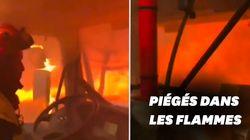 Les images angoissantes de pompiers pris au piège dans l'incendie de