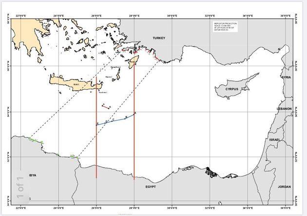 Ο χάρτης οριοθέτησης ΑΟΖ μεταξύ Ελλάδας και