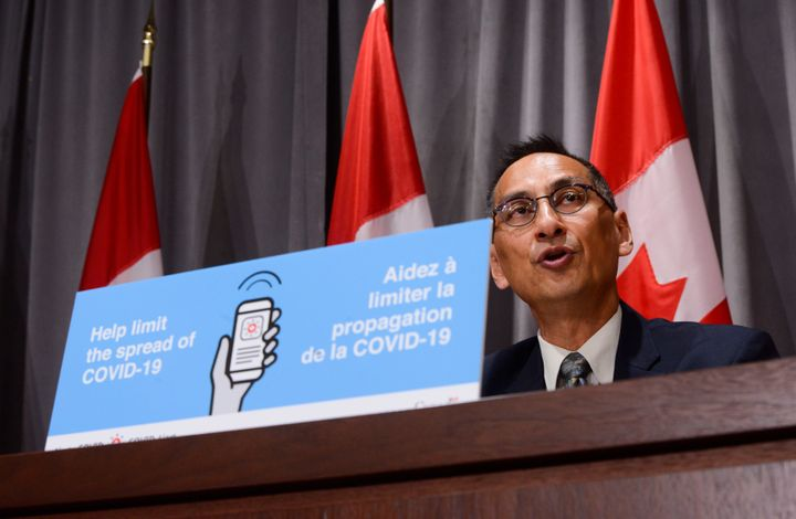 Dr. Howard Njoo, Deputy Chief Public Health Officer, holds a press conference in Ottawa on Aug. 4, 2020.