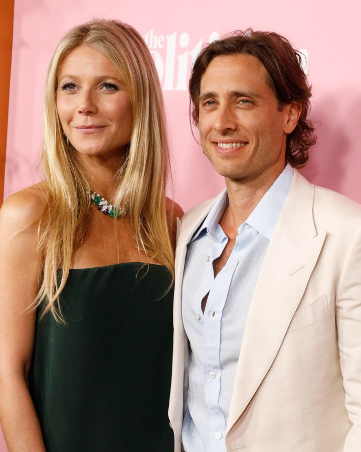 Paltrow and her second husband, Brad Falchuk, attend the premiere of Netflix's