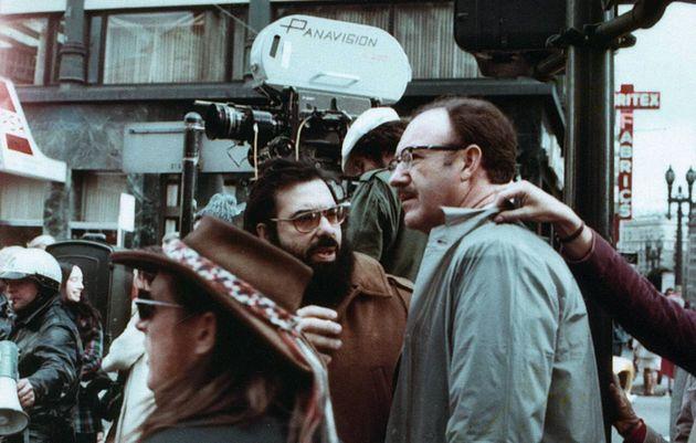 Francis Ford Coppola eGene Hackman nas filmagens de