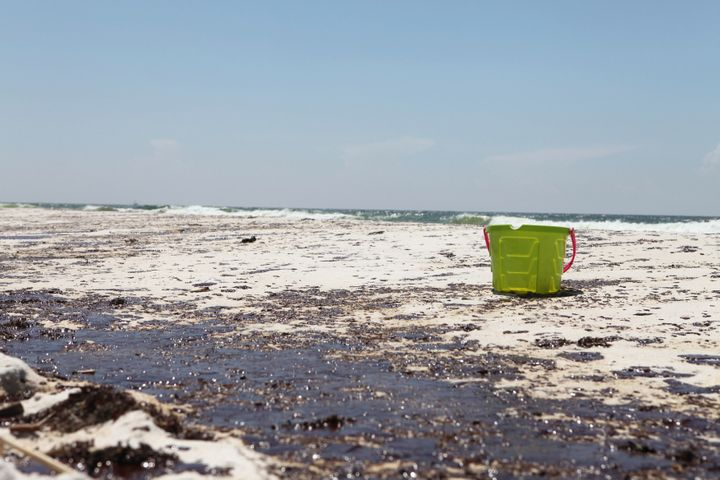 An oil-stained beach in Pensacola, Florida, in the wake of the Deepwater Horizon oil spill in 2010.