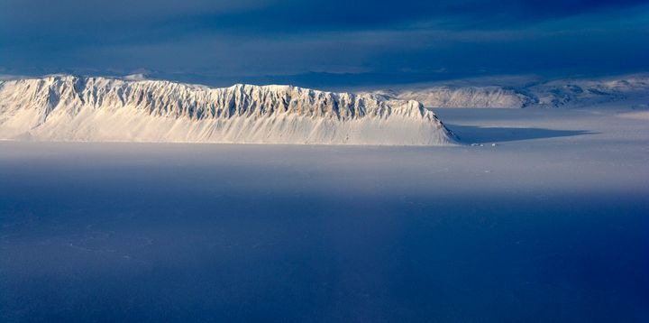 Eureka Sound on Ellesmere Island in the Canadian Arctic is seen in a NASA Operation IceBridge survey picture taken March 25,