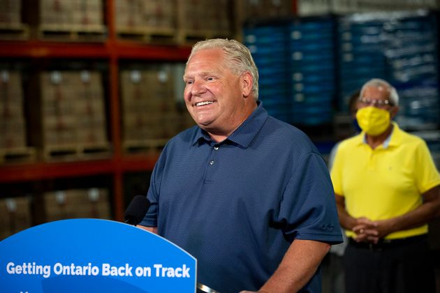 Ontario Premier Doug Ford makes an announcement with Vic Fedeli, Minister of Economic Development, Job...
