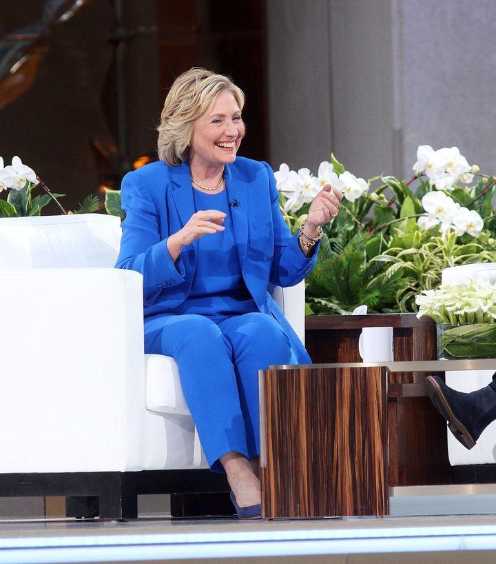 2015년 9월 8일 '엘렌 드제너러스 쇼'에 출연 중인 힐러리 클린턴
