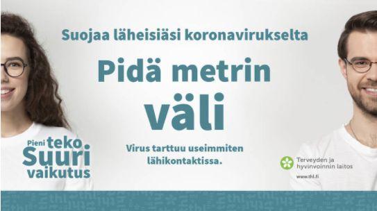 ソーシャルディスタンスを喚起するフィンランド国立保健福祉研究所のポスター
