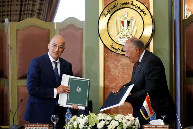 Υπογραφή συμφωνίας Αοζ μεταξύ Ελλάδας και Αιγύπτου - κοινές δηλώσεις Υπεξ Ελλάδας και Αιγύπτου. Πέμπτη...