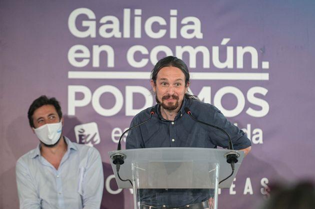 El vicepresidente segundo del Gobierno y secretario general de Podemos, Pablo Iglesias, interviene enn...