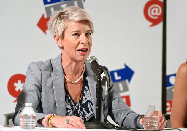 Katie Hopkins, who was removed from Twitter for breaching the platform's rules on hate