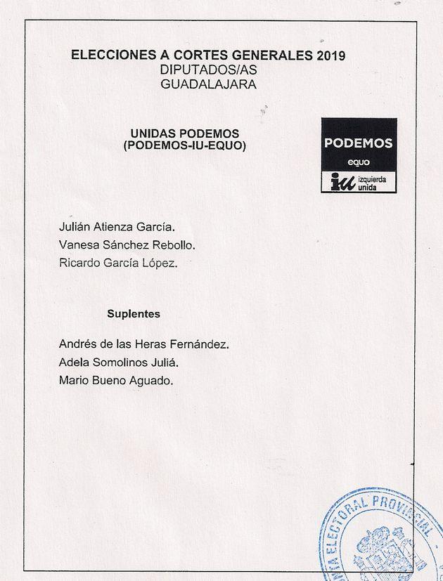 Papeleta de Unidas Podemos en Guadalajara para las elecciones generales del 28 de